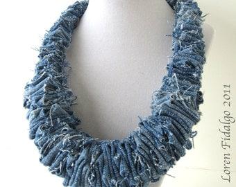 Denim Necklace, Jean Fabric Necklace, Fiber Necklace, Blue Necklace, Denim Jewelry, Cotton Necklace, Large Necklace, Casual Necklace