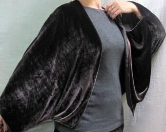 Dark Chocolate Velvet Kimono Cocoon Wrap - 1930s Style Glamour in Soft Velvet by Lyndell