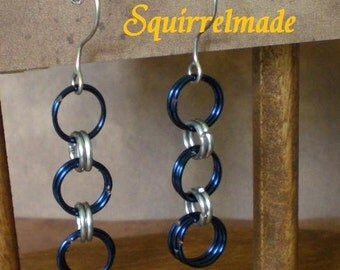 Simplicity Chainmaille Earrings by Squirrelmade Blue and Silver
