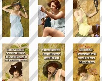 Digital Collage Sheet Slides Sarcastic  Women 1 X 2 Dominos (Sheet no. FS166) Instant Download