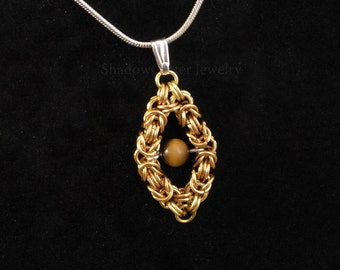 Floating Tiger Eye Pendant Byzantine Chainmaille Necklace Golden Brass diamond shape frame round bead