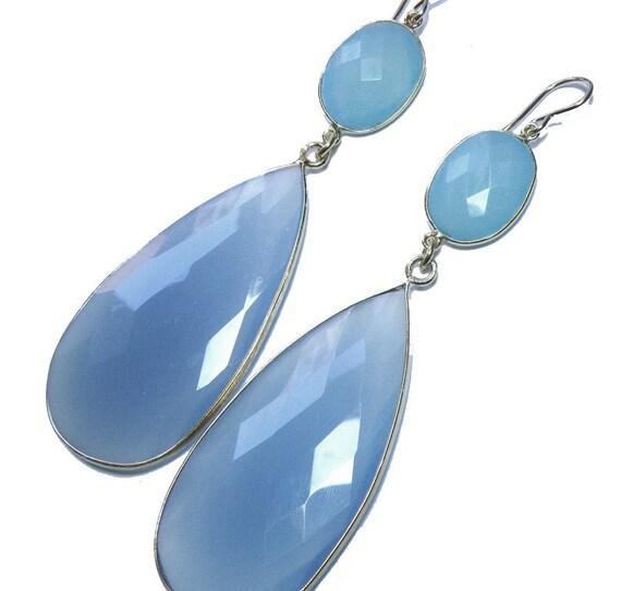 Chalcedony Dangle Earrings Large Blue 22K Gold Bezel Set