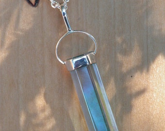 Aqua Aura Crystal Gemstone Pendant Pendulum Necklace