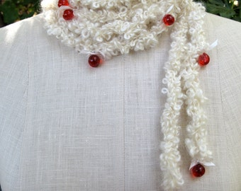 Snow Berries--White Mohair Boucle' Necklace with Red Orbs
