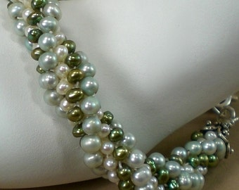 Green Freshwater Pearls Bangle Bracelet Crochet, Stack-able, Anniversary - Birthday - Large - XLarge - Plus Size
