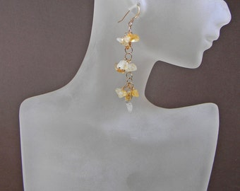 Gemstone Earrings; Citrine Quartz Chips Dangle Earrings Wire Wrapped in Gold; Good Luck Jewelry; Anniversary Birthday Gift For Her; Ooak