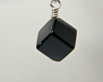 Interchangeable Earrings; Sterling Silver geometric charms; Onyx Cube drops; Black dangles; changeable earrings