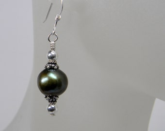 Green Short Dangle Freshwater Pearl Earrings in Sterling Silver; Wedding Bridesmaid Gift; Anniversary June Birthday Gift for Her