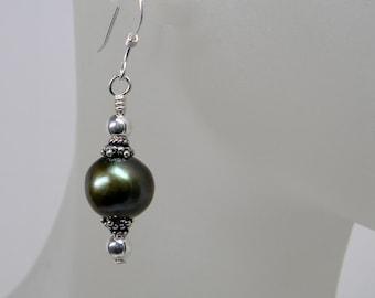 Green Short Dangle Freshwater Pearl Earrings  - Bridesmaid - Handmade - Bridal- Anniversary - June Birthday