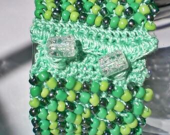 Crochet  Beaded Green Cuff Bracelet - handmade - Under 25 dollars - Beaded - Medium