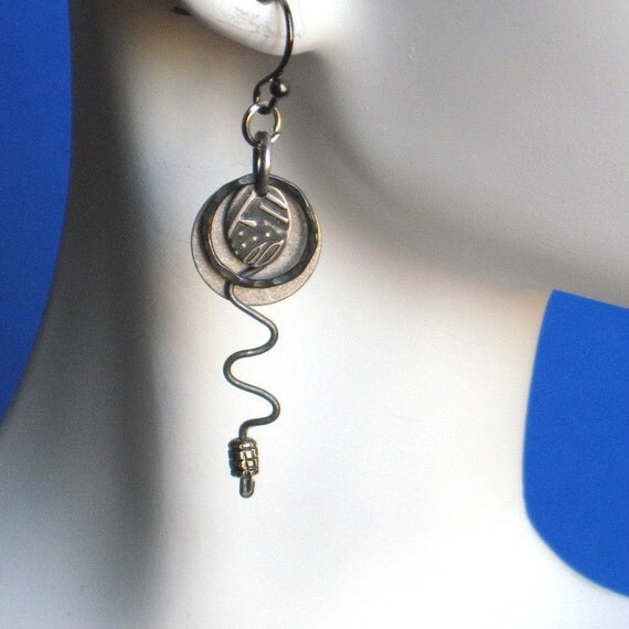 Dangle Earrings sterling silver tiny rings are handforged Antiqued patina mixed metals, Earwires are plated