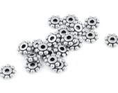 100 6mm Silver Spacer Beads - Flat Daisy Beads - Antique Silver Heishi Beads - Bali Beads by TierraCast Pewter  (PS4)
