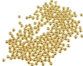 250 2mm Gold Plated Round Gold Beads Gold Ball Beads Tiny Small Gold Spacers (FS88)