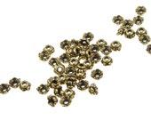 50 Gold Bead Caps 4mm Scalloped Antique Gold Beadcaps TierraCast Pewter Tiny Beadcaps Metal Beads (PC2)