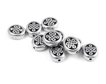 10 Celtic Beads - 11mm Antique Silver Beads - Silver Celtic Oval Beads - Lg Endless Beads by TierraCast Pewter - Silver Metal Beads (P389)