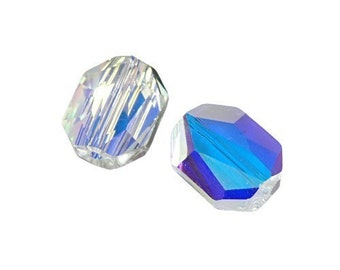 12mm CRYSTAL AB Swarovski Graphic Beads - Article 5520 - Aurora Borealis Finish - Large Crystal Beads