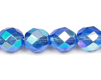 25 Sapphire Blue AB 8mm Beads - Firepolish Fire Polished Czech Glass Beads - Rich Blue Beads with Aurora Borealis Finish