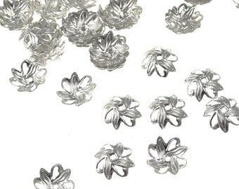 72 Silver Bead Caps Silver 10mm Petal Shaped Plated Silver Beadcaps Silver Jewelry Supplies Jewelry Beads for Jewelry Making (FS43)