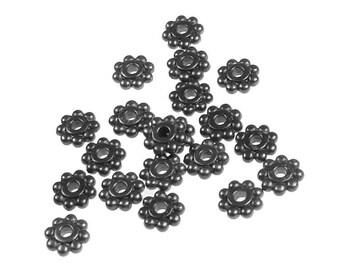 20 Gunmetal Beads 6mm Daisy Spacer Beads Gun Metal Heishi Beads Black Oxide Flat Bali Flower Beads TierraCast Pewter  (PBS4)