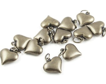 12 Puffed Heart Charms Bronze Antique Brass Charms Aged Solid Brass Vintage Style Bronze Charms Jewelry Charms for Jewelry Making (FSAB66)