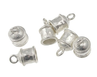 6 Kumihimo Cord Caps Bright Silver Cord End Caps with 6mm Internal Diameter Kumihimo Findings Kumihimo Supplies Silver Finding (KH16)
