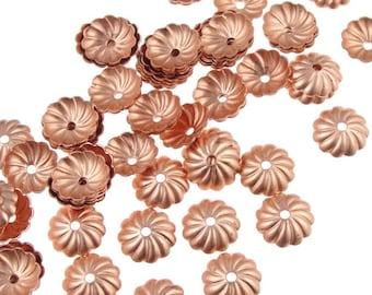 72 Solid Copper Bead Caps - 7mm Pleated Dome Bright Raw Copper Beadcaps (FSC38)