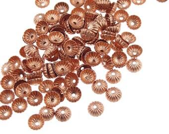 Copper Bead Caps 144 Solid Copper Beadcaps 5mm Pleated Dome Small Bead Caps Copper Bright Copper Caps (FSC37)