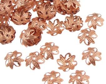 72 Copper Beadcaps - Raw Bright Copper Bead Caps 10mm Petal Solid Copper Beads (FSC36)
