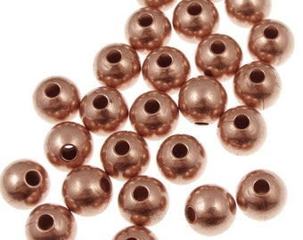20 Copper Beads 8mm Round Beads - Raw Bright Solid Copper Lightly Seamed Ball Beads - Copper Metal Beads (FSC15)