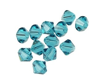 12 INDICOLITE 6mm Swarovski Bicone Beads - Deep Teal Blue Beads - 5328 5301 Swarovski Beads - Blue Green Crystal Beads - 6mm Bicones