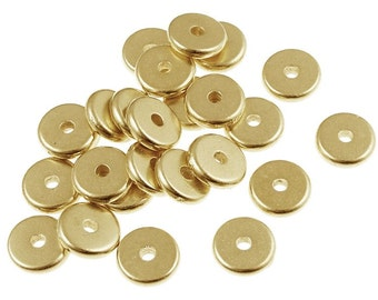100 Gold Beads 7mm Disk Beads - Bright Gold Plated Washer Beads - Flat Disk Heishi Spacer TierraCast Pewter Gold Metal Beads (PS290)