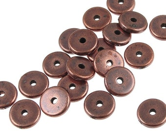 20 Antique Copper Beads - 8mm Disk Beads - TierraCast Washer Bead Heishi Spacer Beads Craft Supplies for Jewelry Making Metal Beads (PS297)