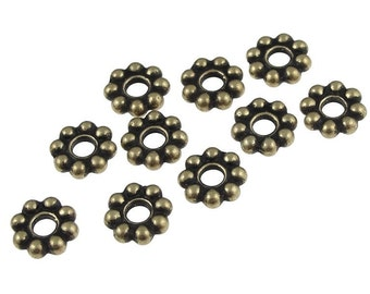 Antique Brass Beads 8mm BEADED Large Hole Beads Brass Spacers - TierraCast Pewter Brass Oxide Heishi Bali Beads Antique Bronze (PAS20)