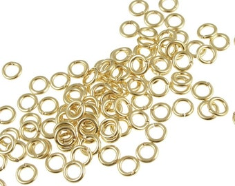 Gold Jump Rings Findings 100 Gold Plated 5mm 18 Gauge Jumprings (FS62)
