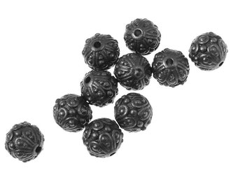 Black Beads 7mm Casbah Bali Beads Gunmetal Gun Metal Black Oxide Metal Beads TierraCast Pewter  (PB24)