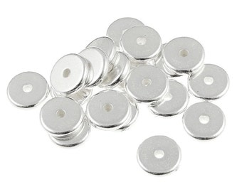 100 Silver Disk Beads 8mm Flat Disk Heishi Spacer Beads TierraCast Pewter Washer Beads Metal Beads BULK (PS295)