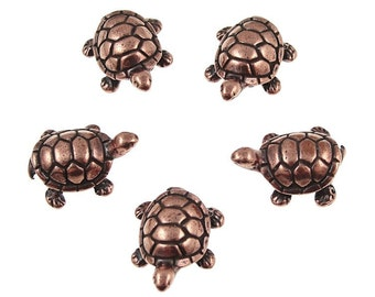 Turtle Beads for Jewelry Making Antique Copper Beads TierraCast Beads Copper Jewelry Supplies Jewelry Beads Animal Beads (P1000)