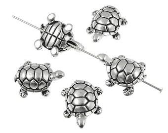 Turtle Beads Silver Beads Three Dimensional 3D Beads TierraCast Pewter Antique Silver Turtle Beads Metal Beads (P998)