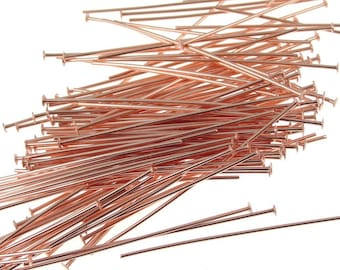 "72 Solid Copper Headpins 1.5"" Bright Copper Head Pin Findings Raw Copper Findings 22 Gauge 22 G Jewelry Findings for Copper Jewelry (FSCB1)"