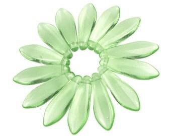 50 Peridot 16mm x 5mm Dagger Czech Glass Beads Light Green Briolette Beads