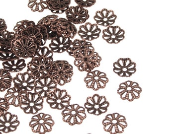 144 Copper Beadcaps - 6mm Antique Copper Bead Caps - 6mm Filigree Caps - Aged Dark Solid Copper Metal Beads (FSAC51)