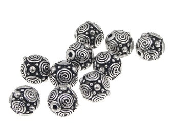 Silver Beads - 8mm Silver Bali Beads - TierraCast Pewter Dots and Spirals Antique Silver Metal Beads -  (P289)