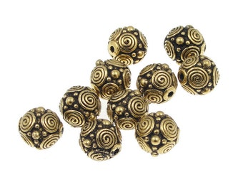 Antique Gold Beads Gold TierraCast Beads Spirals Beads 8mm Gold Bali Beads for Jewelry Making Jewelry Beads Necklace Beads   (P290)