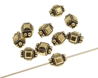 Antique Gold Beads - TierraCast DECO CUBE beads - 5mm x 7mm Gold Plated Jewelry Beads Faceted Fancy Bali Style Beads (P302)