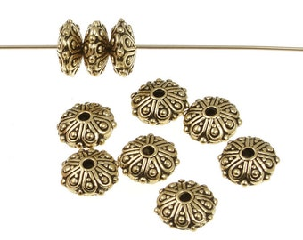 Antique Gold Beads Oasis Gold Bali Beads Rondelle Rondelle Beads TierraCast Bali Style Metal Beads (P304)