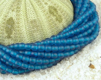 4mm Capri Blue 100 Round Beads Frosted Matte Seaglass Style Sea Glass Beads Beachglass Style Beach Glass Beads