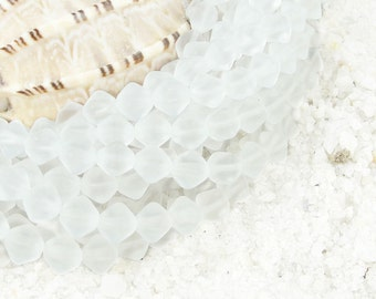 50 Frosted White Beads 6mm Bicones Iced Matte Seaglass Style Sea Glass Beads Beachglass Style Beach Glass Beads