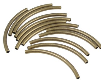 12 Antique Brass Tube Beads Curved Tubes Noodle Beads 2.5mm x 40mm Solid Brass Beads (FSAB94)