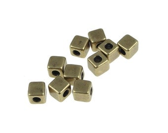 Antique Brass Beads Brass Cube Beads TierraCast Beads 4mm Cube Beads Tierra Cast Pewter Antique Bronze Beads Spacer Heishi Beads (PS353)