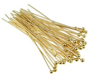 """Gold Ball Head Pins 48 - 1 1/2"""" - 22 Gauge Plated Gold Ball Pin Findings Gold Ballpins Gold Headpins Gold Findings Jewelry Findings (FS122)"""